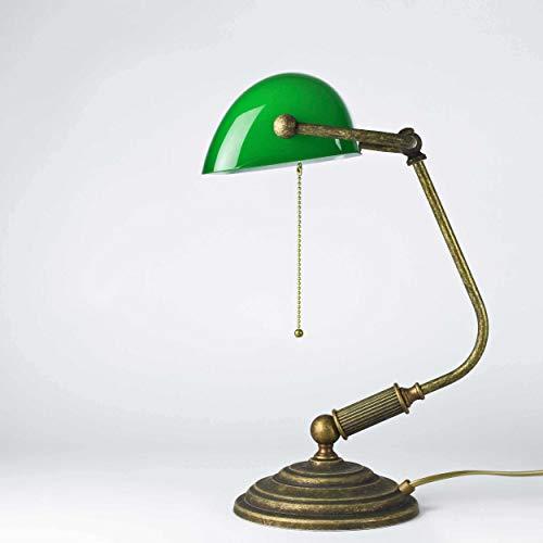 Bronze-glas-tisch (Tischlampe Antik Bronze Glas Grün Echt-Messing Zugschalter Vintage Art Déco Bankerlampe Beistelltisch Schreibtisch)