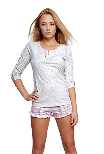 Rosa Baumwoll-shorty-pyjama (Sensis wunderschönes Nachtwäsche-Set (Made in EU) als Shorty oder Pyjama aus 100% Baumwolle, Shorty 3/4-Arm Grau/Rosa kariert, Gr. XL (42))