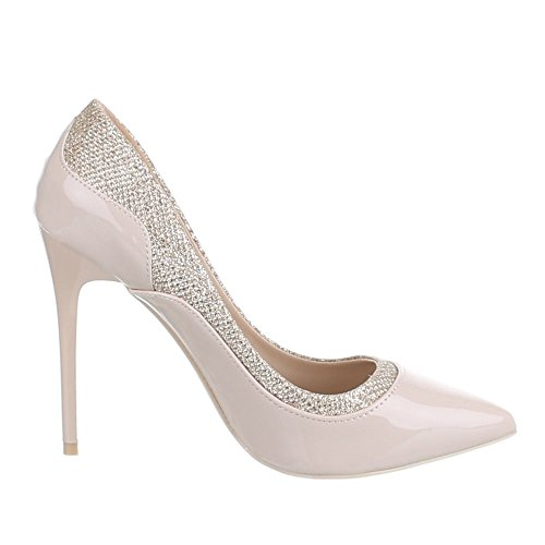 Ital-Design High Heel Damen Schuhe Geschlossen Pfennig-/Stilettoabsatz High Heels Pumps Beige