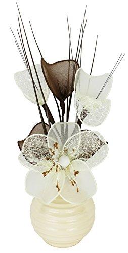 Diseño de flores de mano 790301 813 vaporizarse jarrón con crema/marrón Mini...