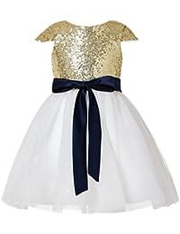 Princhar - Vestido de tul con lentejuelas para niñas, ocasiones de boda