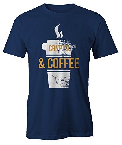Crypto and Coffee Bitcoin Cryptocurrency BTC Ltc Digital Currency T-Shirt Camiseta Hombres Azul Marino Medium