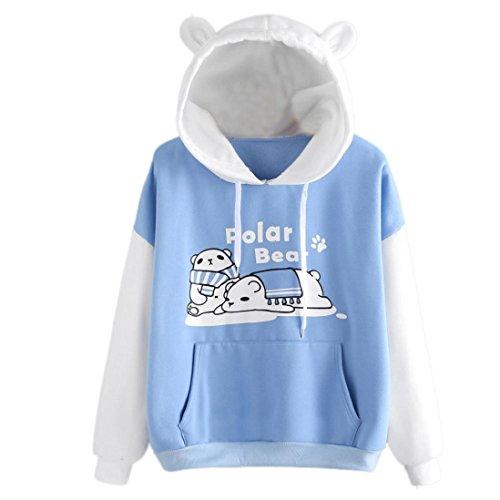Mumuj Niedlichen Cartoon Eisbär Hoodie Pullover mit Taschen Langarm Oberbekleidung Jacke Sweatshirt für Mädchen Frauen (Himmelblau, M)