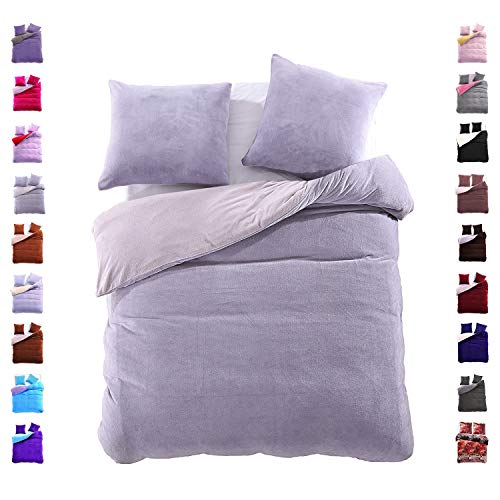DecoKiing Bettwäsche mit 1 oder 2 Kissenbezügen 80×80 Mikrofaser Weich Warm Kuschelig Winter Bettbezug Bettwäschegarnitur braun beige Brown Furry