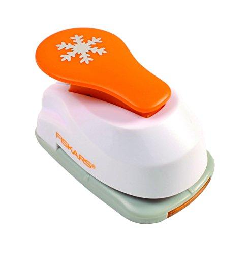 tanzer, Schneeflocke, Ø 1,9 cm, Für Links- und Rechtshänder, Qualitäts-Stahl/Kunststoff, Weiß/Orange, Lever Punch, S, 1004642 ()