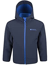 Mountain Warehouse Exodus Kids Softshell Jacket - Breathable Children's Jacket, Showerproof Coat, Fleece Lined Hoodie, Wind Resistant - For Travelling & Daily Use Navy 11-12 years