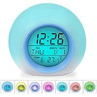 Zaibang - Reloj Despertador Digital, 7 Colores cambiantes, Sonido Natural, Control de sueño, Pantalla de Temperatura Interior para niños, niños, Padres de Trabajo, Estudiantes, etc.