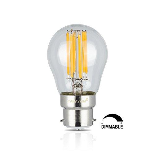 TAMAYKIM G45 6W Dimmerabile Antico Edison Stile Filamento Lampadina LED - 3000K Bianco Caldo 600 lumen - 6W equivalente a 60W - Attacco B22 - Globo Forma - 360° Angolazione Fascio Luce
