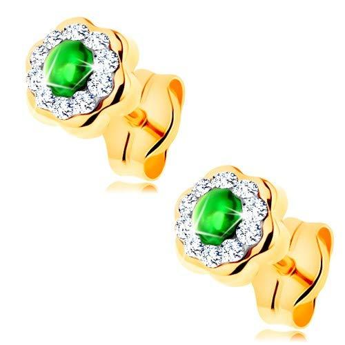 ldohrringe 585, Ohrstecker in gelbe Gold 14K, goldene Ohrringe 14K, Damen Ohrringe, glänzende Blume mit rundem grünem Smaragd, 5 x 5 mm, 0,4 g ()