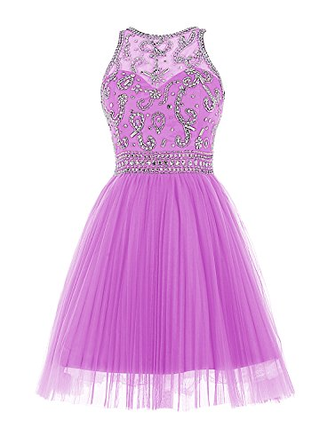 Wedtrend Damen Empire Taille Kurze Abendkleid Homecoming Kleid mit Perlen WT11050-Lilac-6
