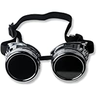 ZAIQUN Cyber Glasses Vintage Adjustable Steampunk Goth Cosplay Goggles Party Accessory Fancy Dress