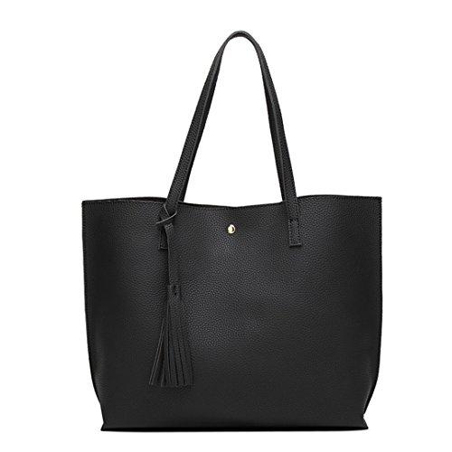 Kunstleder Handtasche weiblichen Quaste Handtasche Frau Ankunft Niet Große Schultertasche Designer Damen Taschen Schwarz 30 cm X Max. Länge X 50 cm