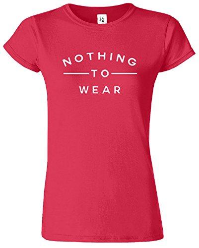 Nothing To Wear Du Nouveau Slogan élégant drôle Dames TShirt Cadeau Antique Rouge Cerise / Blanc Design