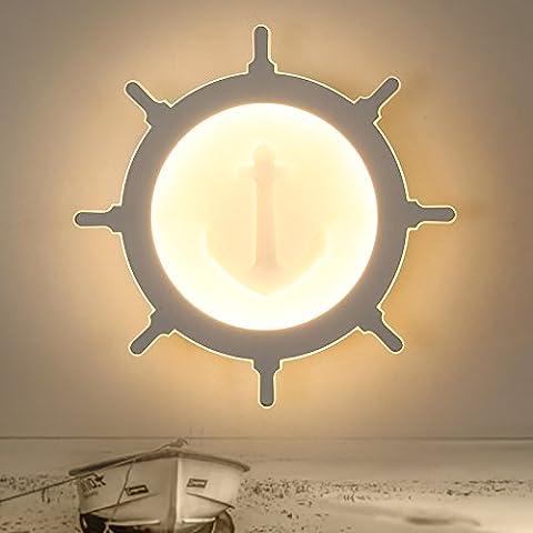 FAN4ZAME Super Slim Zimmer Lampe Mediterranen Ruder Deckenleuchte Kreative Augenschutz Led-Schlafzimmer Wand Lampe Durchmesser 30 Cm - Nicht-Polare