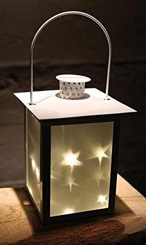 Metall Laterne mit 5 warmweiße LEDs | Windlicht Laterne | LED Glaswindlicht (Metall-sterne-haus)