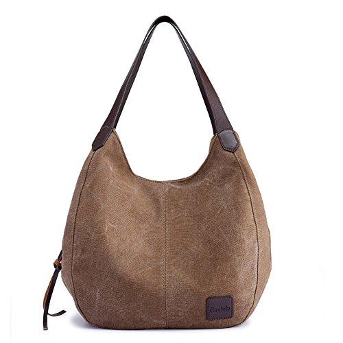 Gindoly Damen Canvas Handtasche Klein Vintage Shopper Schultertasche Henkeltasche Hobo Tasche Beuteltasche (Braun)