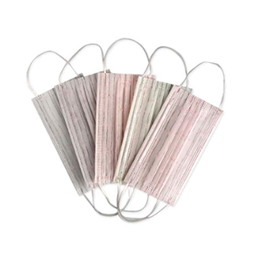 Lot de 5 masques anti-poussière jetables en tissu non tissé, motif floral, rayures en dentelle, couleur bonbon, trois couches élastiques