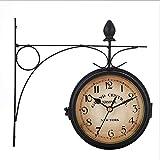 ZXT Style Européen Double Face Horloge Murale Rétro Vintage Antique Corridor Décoration De La Maison Tenture Métal Horloge Creative Salon Chambre Chambre En Fer Forgé Bijoux Horloge Murale
