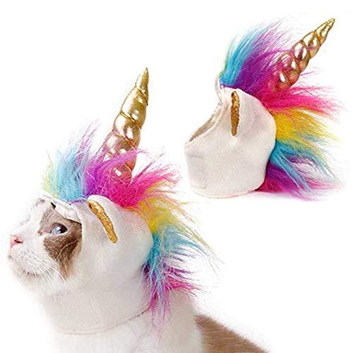 Yuwooben Halloween Katze Einhorn Hut Welpe Kätzchen Lustig Adjustabale Cosplay Mähne Hut Kopfbedeckung Halloween Thema Kostüm für Zelten, Picknick und Andere Außen Aktivitäten (28 Halloween Katze Kostüme)