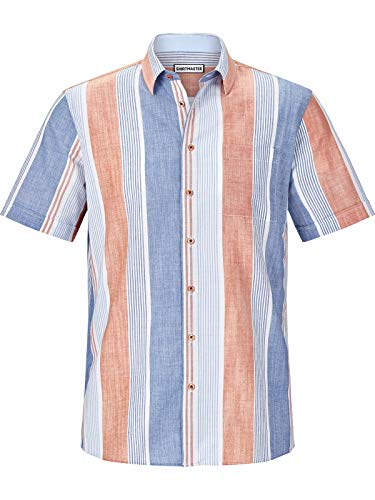 Shirt Master Herren Kurzarm Kurzarmhemd Hotstripes (Sommer-Hemd, Streifen-Muster) blau 2XL (XXL) - 45/46 -