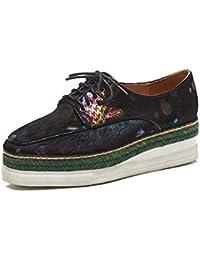 Sneakers de Wedge Plataforma para Mujer,MWOOOK-826 Mujer Cuero Cuña Confort Sneakers Dedo