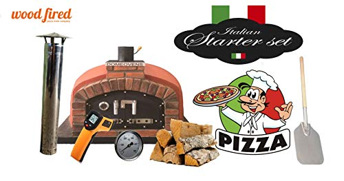 Red Franco Wood Fired Pizza Oven Double Insulation Starter Kit, Cast Iron Door, Without gas burner, 110cm x 110cm
