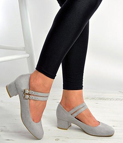 Cucu Fashion ,  Damen Knöchel-Riemchen Grau