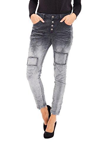 BLUE MONKEY Boyfriend Jeans in Dip Dye Waschung mit Patch Details Sue 1255 Damen Modern Fit BM1255 (Dye-trend Dip)