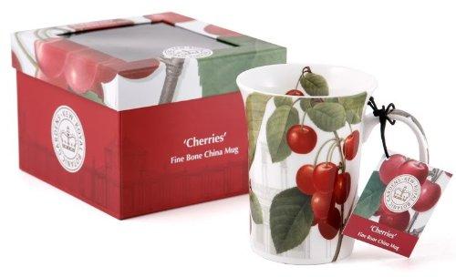 Tasse de Porcelaine Fine 'Cherries' avec Boîte à Cadeau