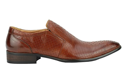 Herren Echt Leder Punch Loch braun blau Smart Slip auf Loafer Vintage Mod Schuhe Braun