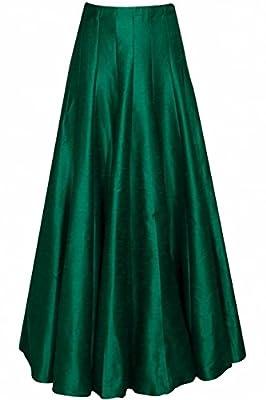 JANAK Women's Silk Skirt(DN123, Green, Medium)