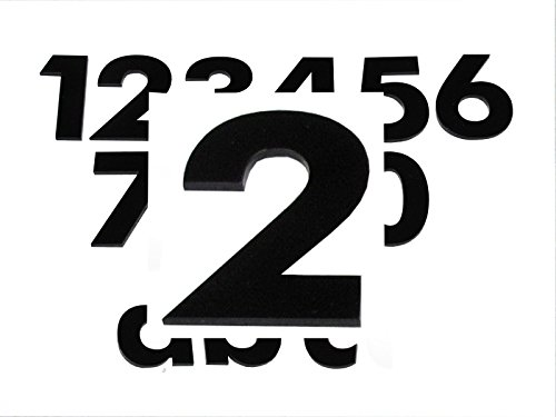 Hausnummer 2 SCHWARZ - HÖHE: 65mm, 3mm dick (KEINE dünne Folie), witterungsbeständig, schönes Design und sehr einfache Montage (kleben statt bohren) HAUSNUMMERN, NUMMER, ZAHL für Haustür, Tür, Briefkasten u. Sprechanlage aus PLEXIGLAS -