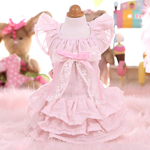 Hundekleider, Haustierkleidung Tutu Shirts Hochwertiges Baumwollmaterial Weich und bequem Süßes Design Geeignet für Zuhause, Party, Fotografie,Pink,XS