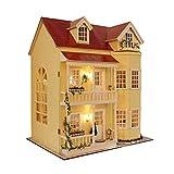 Casa delle bambole in miniatura, misura grande, con mobili, in legno, fai da te