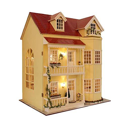 Cure room DIY de Madera casa de muñecas en Miniatura de artesanía Kit-Large Villa & Muebles