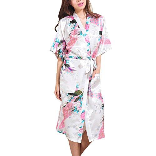 waymoda Donna Luxury raso di seta pigiama Accappatoio, Pavone e fiori pattern stile Kimono pigiama lungo, 10+ Colori, 5taglie, opzionale White X-Large