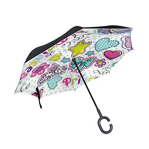 MyDaily Doppelschichtiger umgekehrter Regenschirm mit niedlicher Schleife,