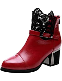 Stiefeletten Damen mit Absatz Mumuj Elegant Mädchen Metall Schnalle Zipper  Pumps Schuhe Blockabsatz Plaid Spitze Chunky 9dd06214db