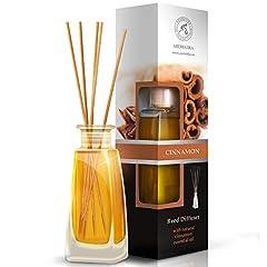 Idea Regalo - Diffusore di Profumo per Ambiente Cannella 100ml con 8 Bastoncini di Bambu - Olio Essenziale Naturale di Cannella - Fragranza Naturale Intensa e Duratura - Senza Alcool - Aromaterapia