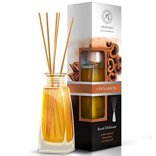 Diffusore di profumo per ambiente cannella 100ml con 8 bastoncini di bambu - olio essenziale naturale di cannella - fragranza naturale intensa e duratura - senza alcool - aromaterapia
