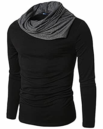 PAUSE Men's Solid Cotton Long Sleeve Cowl Neck Regular-Fit T-Shirt (Small,Black,PACT03181289-BLK-S)
