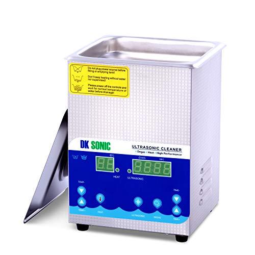 DK SONIC Professionale 2L Pulitore ad Ultrasuoni Digitale with Heating Degassing Function Pulizia dei Gioielli Lame per Occhiali Lenti Protesi Catene Anello Collana Orologi Rasoi Occhiali Record