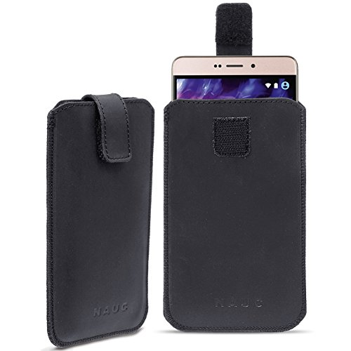 Leder Tasche für Medion Life Smartphone Handy Hülle Cover Pull Tab Lederhülle , Farbe:Schwarz;Smartphone:Medion Life X6001