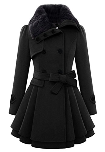 OMZIN Frauen Slim Fit Hohe Taille Wollmischung Pea Coat Outwear Cardigan Schwarz XL (Wollmischung Taille)
