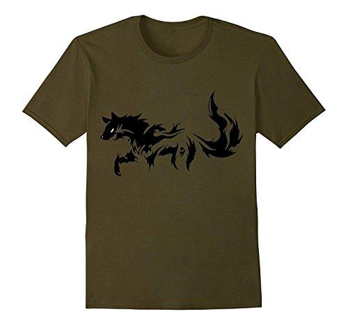 QJK Walking Wolf Summer Men's Short-Sleeved Round Neck Cotton T-Shirt (Shirt Polo Classic Alpha)