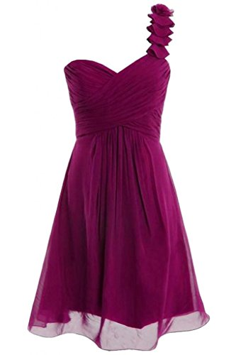 Gorgeous Bride Schlicht Ein-Traeger Empire Chiffon Mini Brautjungfernkleid Cocktailkleid Partykleid Fuchsia