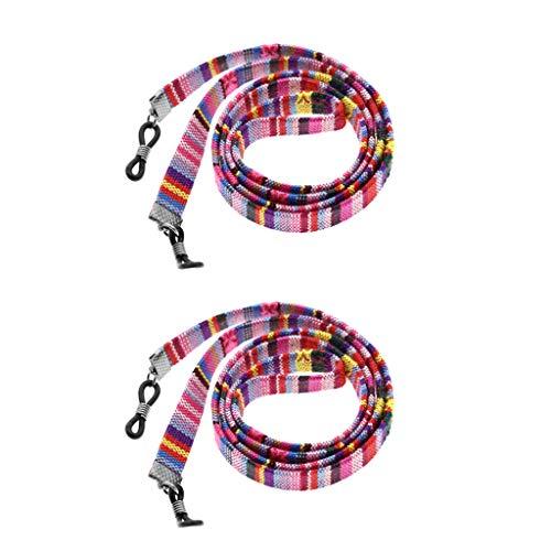 CUTICATE 2xBrillen Strap Halter Verstellbare Brillenhalter Hals Schnur Schlüsselband Halter Brillen Kordel Brillen Seil - Rosa