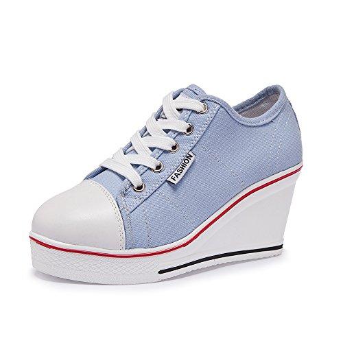 Zetiy Damen Mädchen Keilabsatz Canvas Sneaker Schnüren Sportschuhe (39 EU, Hellblau)