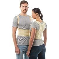 """Corrector de postura cinturón de soporte de espalda de aHeal - Faja para espalda ortopédica médica corrector de columna vertebral para debajo de la ropa para hombres y mujeres - Alivio del dolor de hombro, vértebra lumbar y pectoral inferior corrige la mala postura - Talla 2: 79-88 CM; 31-35"""", Piel"""