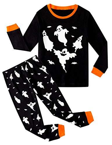 BABSUE Nachtwäsche Kleine Jungen Schlafanzug Mädchen Halloween Pyjamas Baumwolle Langarm Pyjama 2 Stück PJS Sets mit Schädel Kürbis Auto Print 1-7 Jahre